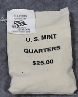 2003 D ILLINOIS STATE QUARTERS US MINT $25 SEWN BAG 25C UNC