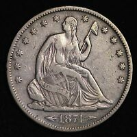 1874 S SEATED LIBERTY HALF DOLLAR CHOICE VF  E223 CFT