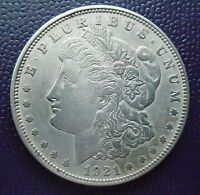 1921 D MORGAN SILVER DOLLAR WITH AU DETAILS AND NICE TONING