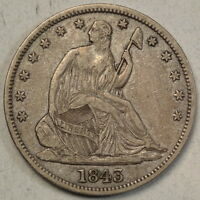 1843 SEATED LIBERTY HALF DOLLAR LY FINE NICE TYPE COIN     0707 25