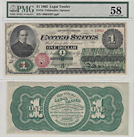 1862 $1 LEGAL TENDER NOTE F 16 PMG CHOICE ABOUT UNCIRCULATED 58