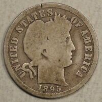 1895 O BARBER DIME GOOD WITH FULL RIMS KEY DATE  0213 50