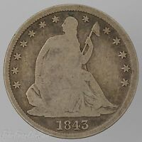 1843 O 50C SEATED LIBERTY HALF DOLLAR GOOD /T 317