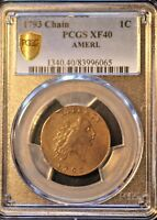 1793 1C LARGE CENT FLOWING HAIR CHAIN CENT AMERI S 1 R4  PCGS XF40 GRADED.