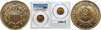 1873 OPEN 3 TWO CENT PIECE PCGS PR-65 RB CAC