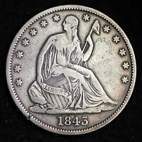 1843 O SEATED LIBERTY HALF DOLLAR CHOICE XF  E302 HT