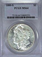 1880 S MORGAN SILVER DOLLAR PCGS MS64 WHITE MIRROR LIKE SUPER LUSTER LOOKS MS65