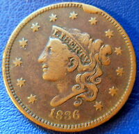 1836 CORONET HEAD LARGE CENT FINE TO EXTRA FINE OBVERSE CUD US COIN Z8352