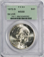 1972 S IKE DOLLAR SILVER PCGS MS 68 OGH LUSTROUS COIN