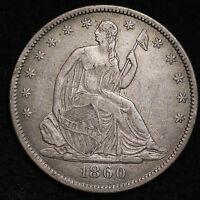 1860 O SEATED LIBERTY HALF DOLLAR CHOICE XF  E314 CTX