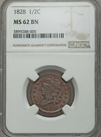 1828 HALF CENT NGC MS62 BN   13 STARS   LUSTROUS   ATTRACTIVE