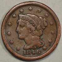 1846 LARGE CENT SMALL DATE GOOD TO FINE INEXPENSIVE TYPE COIN  0426 04