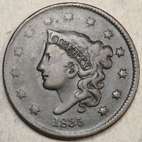 1835 CORONET HEAD LARGE CENT HEAD OF 1836  DATE   0421 05