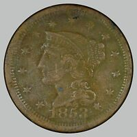 1853 1C N-? BRAIDED HAIR CENT, SEE DESCRIPTION