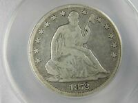 1872 CC SEATED LIBERTY SILVER HALF DOLLAR ANACS VG8 SCRATCHED ON REVERSE