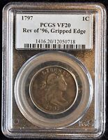 1797 1C DRAPED BUSTED, LARGE CENT, GRIPPED EDGED, S-120B RARITY 2 PCGS VF 20