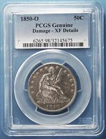 1850 O SEATED LIBERTY HALF DOLLAR PCGS XF DETAILS DAMAGE MORE AT STORE