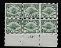 US UNITED STATES 1923 8C AIRMAIL, C4, MNH PLATE BLOCK OF 6