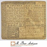 1769 20 SHILLINGS PENNSYLVANIA COLONIAL CURRENCY 391