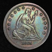1865 SEATED LIBERTY QUARTER CHOICE AU  58,000  E278 HLM