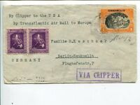 PHILIPPINES CENSOR CLIPPER AIR MAIL COVER TO GERMANY, CA 1940