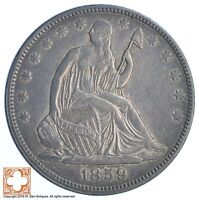 1859 SEATED LIBERTY SILVER HALF DOLLAR XB66