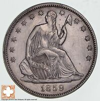 1859 SEATED LIBERTY SILVER HALF DOLLAR 1259
