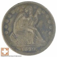1859 SEATED LIBERTY SILVER HALF DOLLAR XB35