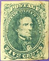 CSA STAMP - SC 1 - 5 CENTS GREEN  VARIETY FIVE CENTS FILLED IN  1-2-V6