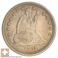 1891 SEATED LIBERTY SILVER QUARTER SB42