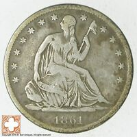 1861 S SEATED LIBERTY SILVER HALF DOLLAR 5727