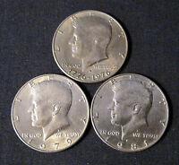 LOT OF 3 KENNEDY HALF DOLLARS 1776 1976 1979 1981