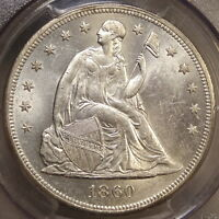 1860 O SEATED LIBERTY DOLLAR PCGS MS 61 TRUE ORIGINAL OLD TIME BU COIN