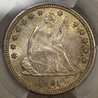1891 S SEATED LIBERTY QUARTER ORIGINAL CHOICE UNCIRCULATED COIN PCGS CERTIFIED