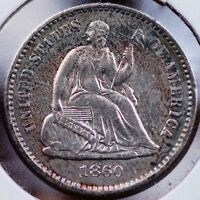 1860 HALF DIME CHOICE ABOUT UNCIRCULATED LUSTROUS WHITE CENTERS & GREAT RIM TONE