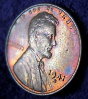 SET OF 2 1941 S  1941 D LINCOLN WHEAT CENTS TONED VIVID RED GOLD BLUE ORANGE