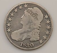 1830 CAPPED BUST SMALL 0 SILVER HALF DOLLAR Q93