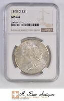 MS64 1898 O MORGAN SILVER DOLLAR   GRADED NGC 1737