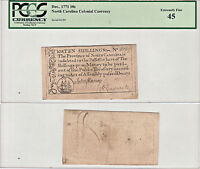 12/1771 10 SHILLINGS NORTH CAROLINA COLONIAL CURRENCY PCGS LY FINE 45