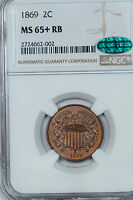 1869 TWO CENT PIECE NGC MINT STATE 65RB CAC APPROVED AND PLUS-GRADED 3604.35589X