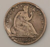 1854 P SEATED LIBERTY SILVER HALF DOLLAR G14