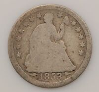 1853-P SEATED LIBERTY SILVER HALF DIME G18