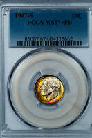 1947 S ROOSEVELT DIME PCGS MS67FB PLUS GRADED ELECTRIC RAINBOW 85087.35659X