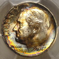 1947 S ROOSEVELT DIME GEM UNCIRCULATED PCGS MS 66 GREAT OLD ALBUM TONING