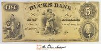 1800'S $5.00 BUCKS BANK OF TENNESSEE LARGE SIZE HORSEBLANKET NOTE 465