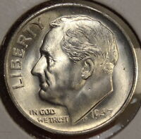 1947 S ROOSEVELT DIME GEM UNCIRCULATED WELL STRUCK    0311 22