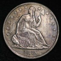 1875 CC SEATED LIBERTY HALF DOLLAR CHOICE AU  E192 HNT