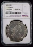 1800 NGC XF DETAILS IMPROPERLY CLEANED DRAPED BUST DOLLAR