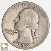 1936 D WASHINGTON QUARTER 90 SILVER 5378