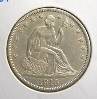 1846 SEATED LIBERTY 50CMED DATEREV DIE BREAKCH ABOUT UNC CONDITIONBFC